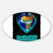 love your world Sticker (Oval)