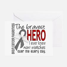 Bravest Hero I Knew Brain Cancer Greeting Card