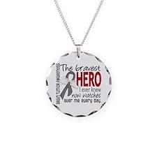 Bravest Hero I Knew Brain Tumor Necklace Circle Ch