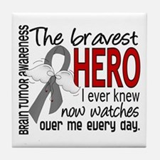 Bravest Hero I Knew Brain Tumor Tile Coaster