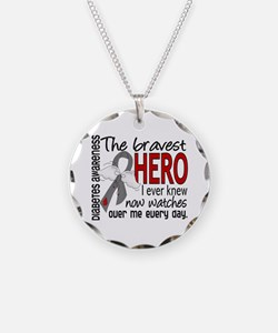 Bravest Hero I Knew Diabetes Necklace Circle Charm