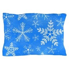 Blue and White Snowflake Pattern Pillow Case