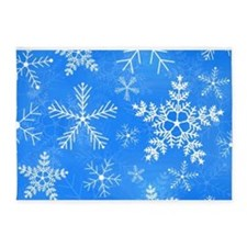 Blue and White Snowflake Pattern 5'x7'Area Rug