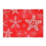 Christmas red snow flakes 5x7 Rugs