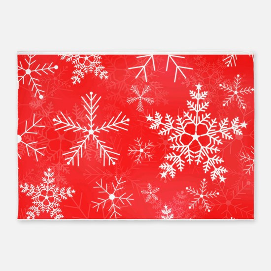 Red and White Snowflake Pattern 5'x7'Area Rug