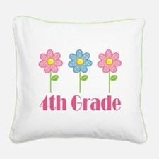 4th Grade (Daisies) Square Canvas Pillow
