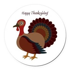 happy thanksgiving Round Car Magnet