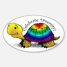Gay Pride Turtle Oval Decal