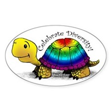 Gay Pride Turtle Oval Stickers
