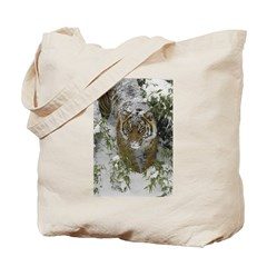 Tiger In The Snow Tote Bag
