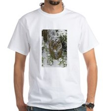 Tiger In The Snow White T-Shirt