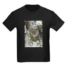 Tiger In The Snow Kids Dark T-Shirt