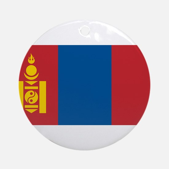 Mongolia - National Flag - Current Round Ornament