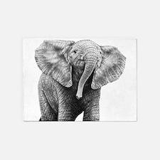 Baby African Elephant 5'x7'Area Rug