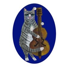 Cat and Cello on Blue Ornament (Oval)