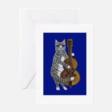 Cat and Cello on Blue Greeting Cards (Pk of 20)