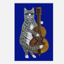 Cat and Cello on Blue Postcards (Package of 8)