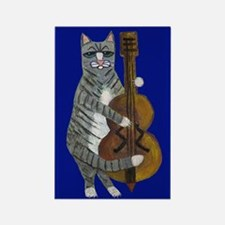 Cat And Cello On Blue Rectangle Magnet Magnets