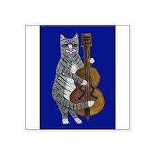 "Cat and Cello on Blue Square Sticker 3"" x 3"""