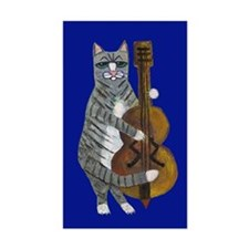 Cat And Cello On Blue Sticker (rectangle)