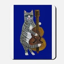 Cat and Cello on Blue Mousepad