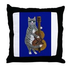 Cat and Cello on Blue Throw Pillow