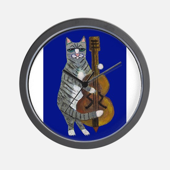 Cat and Cello on Blue Wall Clock