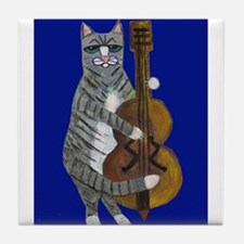 Cat and Cello on Blue Tile Coaster