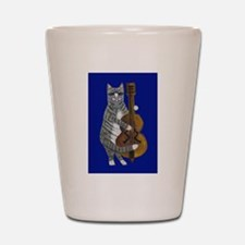 Cat and Cello on Blue Shot Glass