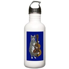 Cat and Cello on Blue Water Bottle