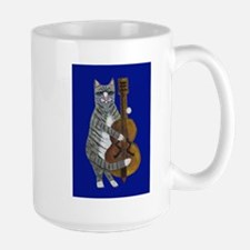Cat and Cello on Blue Mug