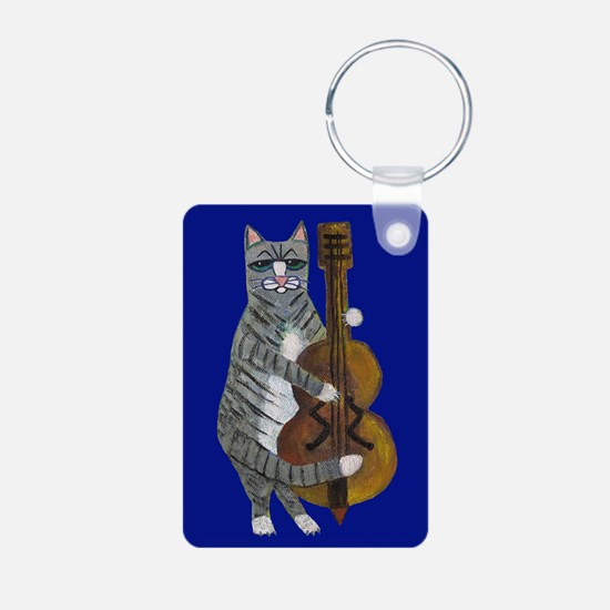 Cat and Cello on Blue Keychains