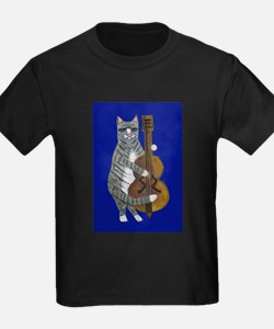 Cat and Cello on Blue T
