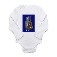 Cat and Cello on Blue Long Sleeve Infant Bodysuit