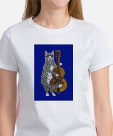 Cat and Cello on Blue Women's T-Shirt