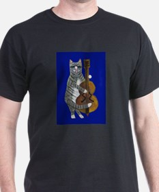 Cat and Cello on Blue T-Shirt