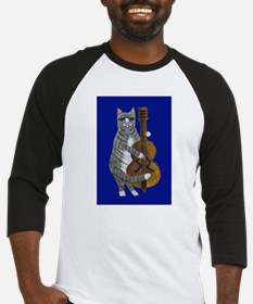 Cat and Cello on Blue Baseball Jersey