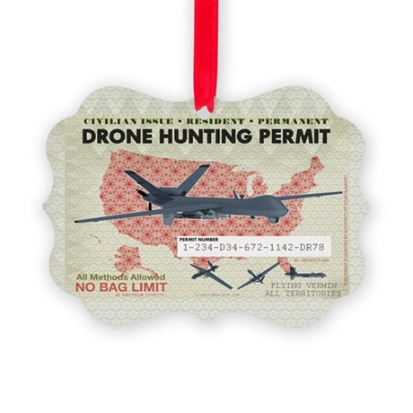 Drone Hunting Permit Picture Ornament