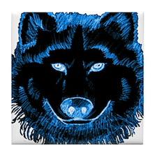Blue Wolf Tile Coaster
