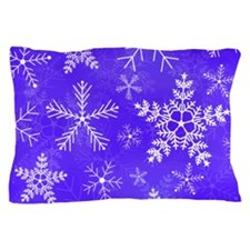 Purple and White Snowflake Pattern Pillow Case