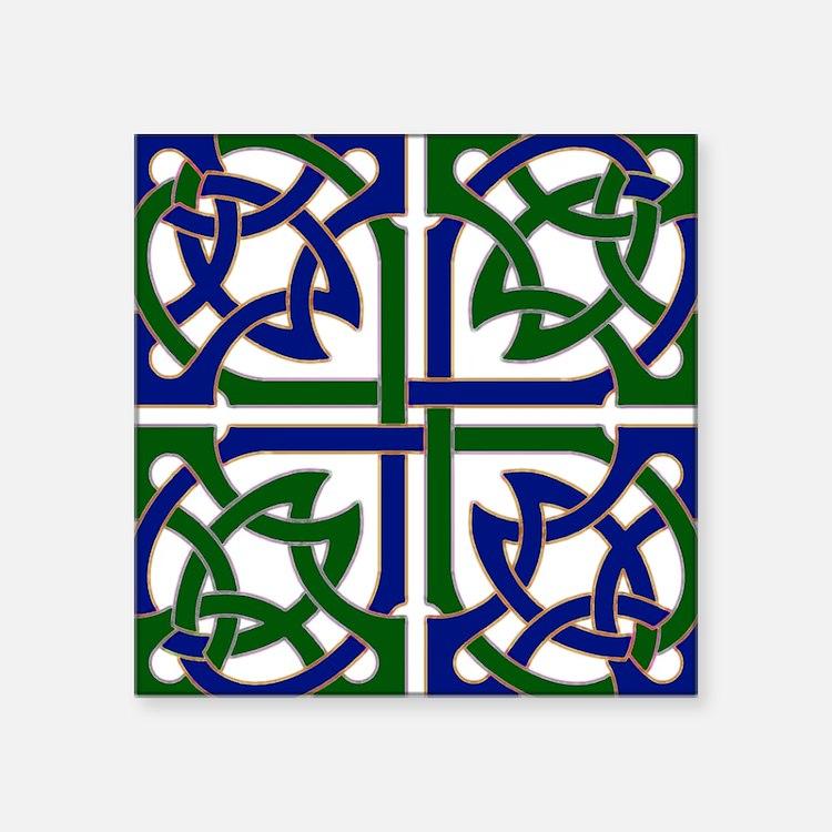 "Celtic Knot Squared Square Sticker 3"" x 3"""