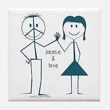 Peace and love smiley face stick figure Tile Coast