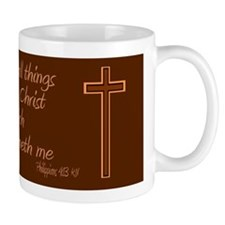Philippians 4 13 Brown Cross Small Mug