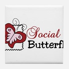 Social Butterfly Tile Coaster