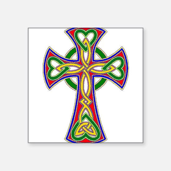 "Primary Celtic Cross Square Sticker 3"" x 3"""