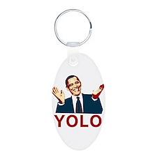 Obama YOLO Aluminum Oval Keychain