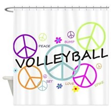 Volleyball Colored Peace Signs Shower Curtain