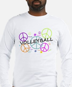 Volleyball Colored Peace Signs Long Sleeve T-Shirt
