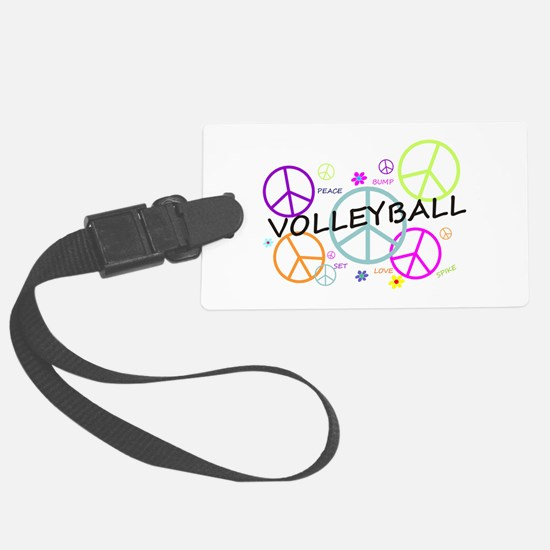 Volleyball Colored Peace Signs Luggage Tag