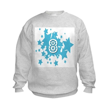 8 birthday stars Kids Sweatshirt